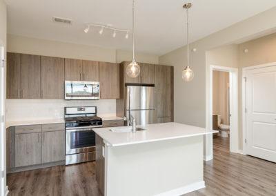 1BR den 914 square feet kitchen